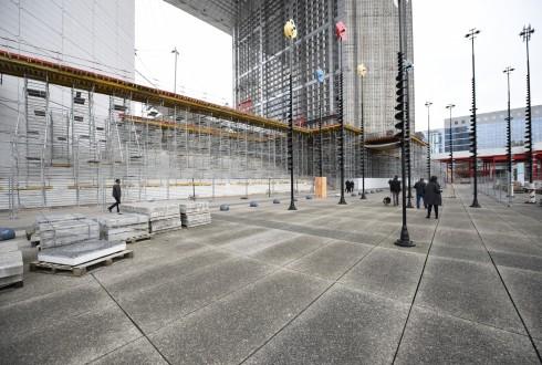 Les travaux de rénovation de la Grande Arche le 10 novembre 2015  - Defense-92.fr