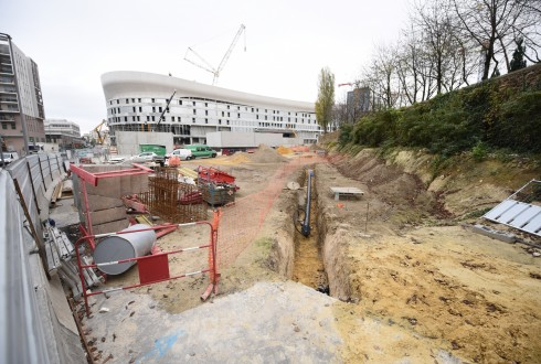 Les travaux d'aménagement des Jardins de l'Arche, le 10 novembre 2015 - Defense-92.fr