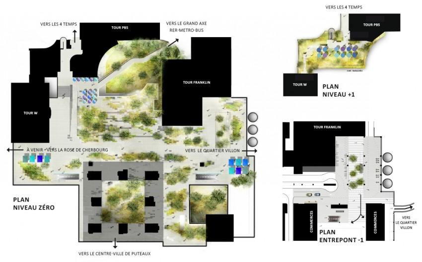 Le plan de masse des Terrasses Boieldieu rénovées - Defacto