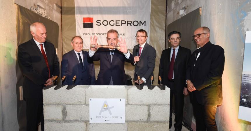 A l'immeuble Ampère e+ Sogeprom a posé symboliquement la première pierre