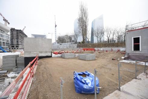 Les travaux d'aménagement des Jardins de l'Arche, le 15 décembre 2015 - Defense-92.fr