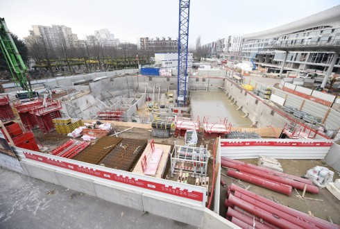 Le chantier de l'hôtel CityzenM le 15 décembre 2015 - Defense-92.fr