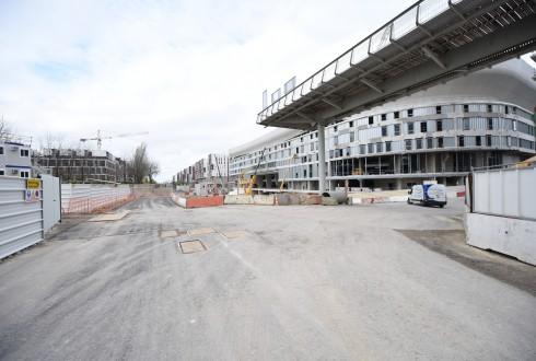 Les travaux d'aménagement des Jardins de l'Arche, le 30 novembre 2015 - Defense-92.fr