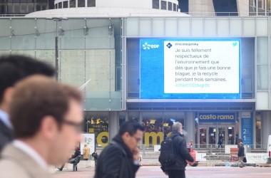 COP 21 : EDF affiche vos messages #objectif2degrés sur l'écran géant des 4 Temps