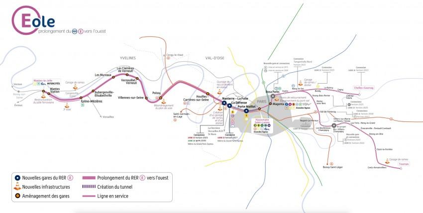Le tracé du prolongement du RER E - SNCF