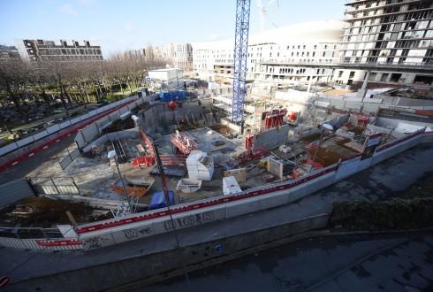 Le chantier de l'hôtel CitizenM 4 janvier 2016 - Defense-92.fr
