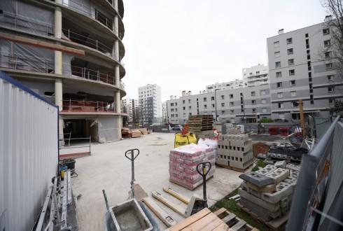 La rénovation de l'immeuble Ampère e+ le 18 janvier 2016 - Defense-92.fr