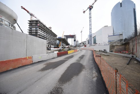 Les travaux de la promenade de l'Arche le 18 janvier 2016 - Defense-92.fr
