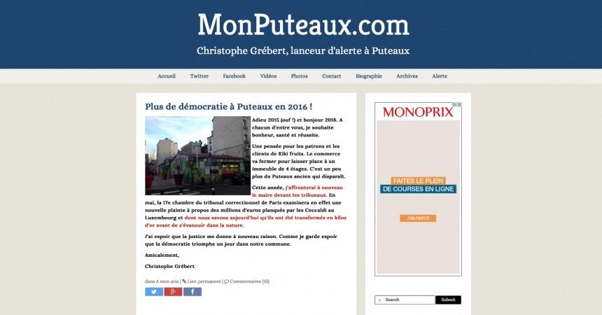 Le blog de Christophe Grebert, Monputeaux.com change de look