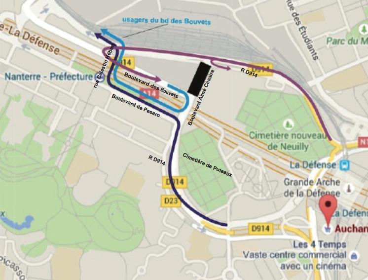 Le plan de déviation suite à la fermeture du boulevard Aimé Césaire à Nanterre - Epadesa