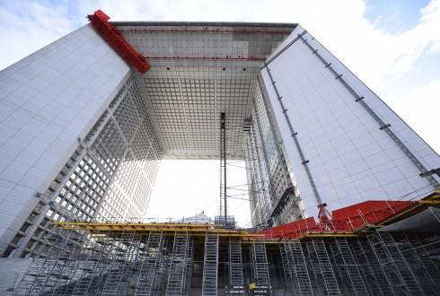 Les travaux de rénovation de la Grande Arche le 8 février 2016 - Defense-92.fr