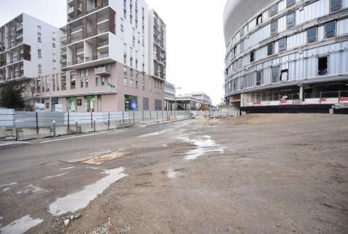 Les travaux de la promenade de l'Arche le 8 février 2016 - Defense-92.fr