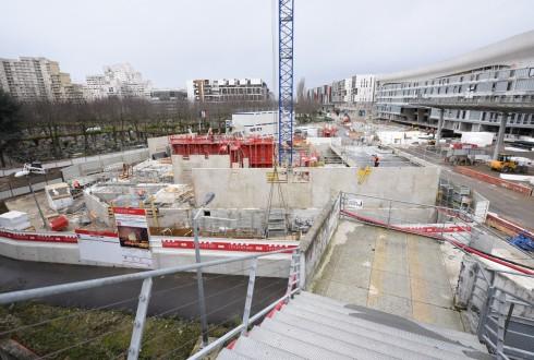 Le chantier de l'hôtel CitizenM le 8 février 2016 - Defense-92.fr
