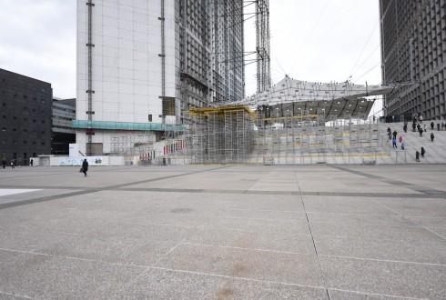 Les travaux de rénovation de la Grande Arche le 15 février 2016  - Defense-92.fr