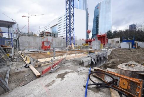 Le chantier de l'hôtel CityzenM le 15 février 2016 - Defense-92.fr