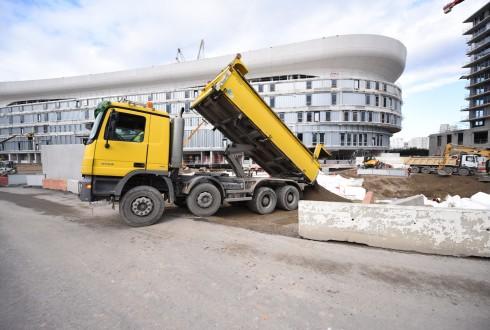 Les travaux d'aménagement des Jardins de l'Arche, le 15 février 2016 - Defense-92.fr