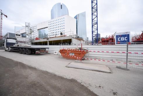 Le chantier de l'hôtel CitizenM le 22 février 2016 - Defense-92.fr