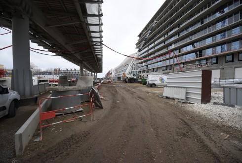 Les travaux de la promenade de l'Arche le 22 février 2016 - Defense-92.fr