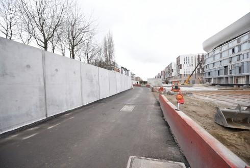 Les travaux d'aménagement des Jardins de l'Arche, le 1er février 2016 - Defense-92.fr