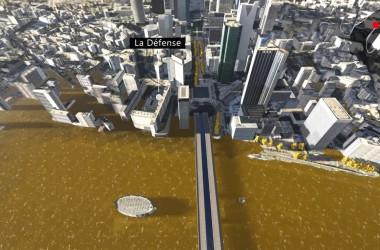 Une simulation pour voir à quoi ressemblerait La Défense en cas de crue de la Seine