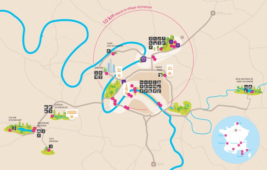 La carte des sites olympiques pour Paris 2024 - DR