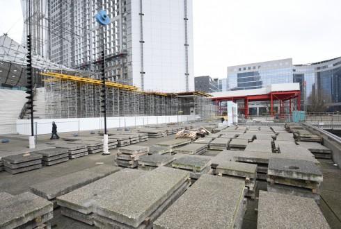Les travaux de rénovation de la Grande Arche le 1er mars 2016  - Defense-92.fr