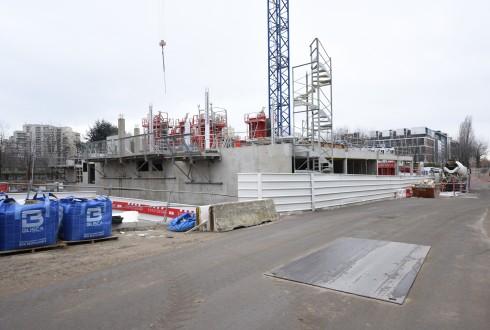 Le chantier de l'hôtel CityzenM le 1er mars 2016 - Defense-92.fr