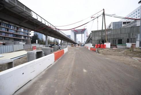 Les travaux d'aménagement des Jardins de l'Arche, le 1er mars 2016 - Defense-92.fr