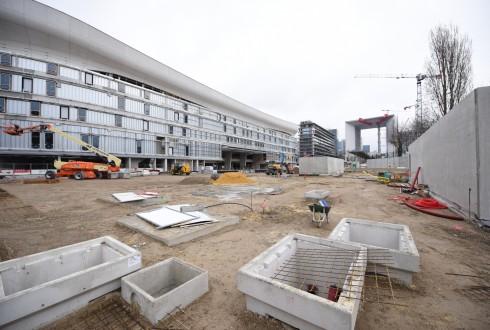 Les travaux d'aménagement des Jardins de l'Arche, le 7 mars 2016 - Defense-92.fr