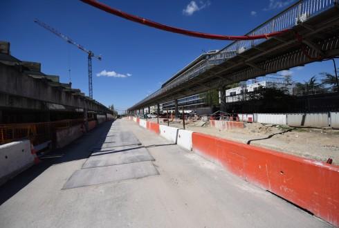 Les travaux de la promenade de l'Arche le 18 avril 2016 - Defense-92.fr