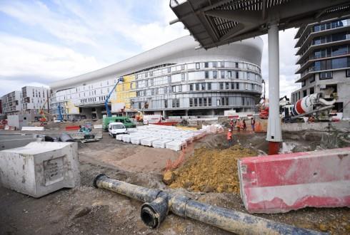 Les travaux de la promenade de l'Arche le 4 avril 2016 - Defense-92.fr