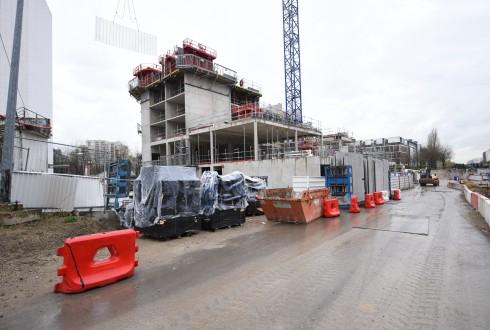 Le chantier de l'hôtel CitizenM le 11 avril 2016 - Defense-92.fr