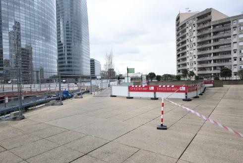Les travaux préparatoires de la tour Trinity le 11 avril 2016 - Defense-92.fr