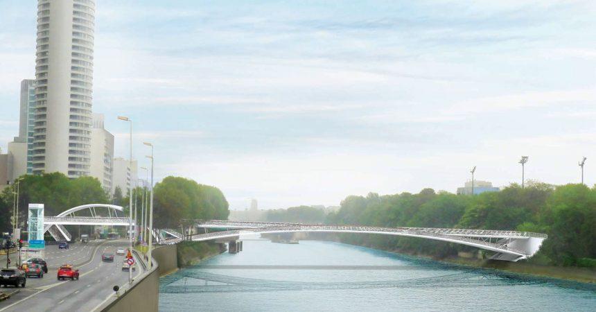 La passerelle piétonne qui traversera la Seine à Puteaux se dévoile