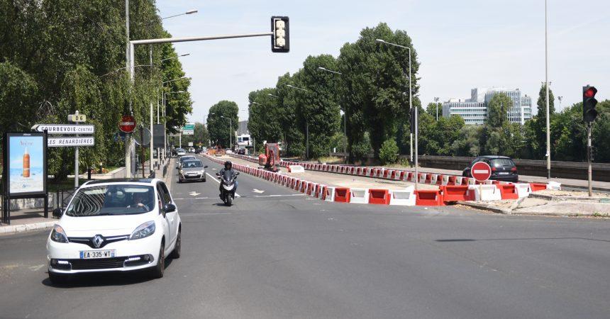 Prolongement d'Eole : des travaux sur le quai du président Paul Doumer à Courbevoie