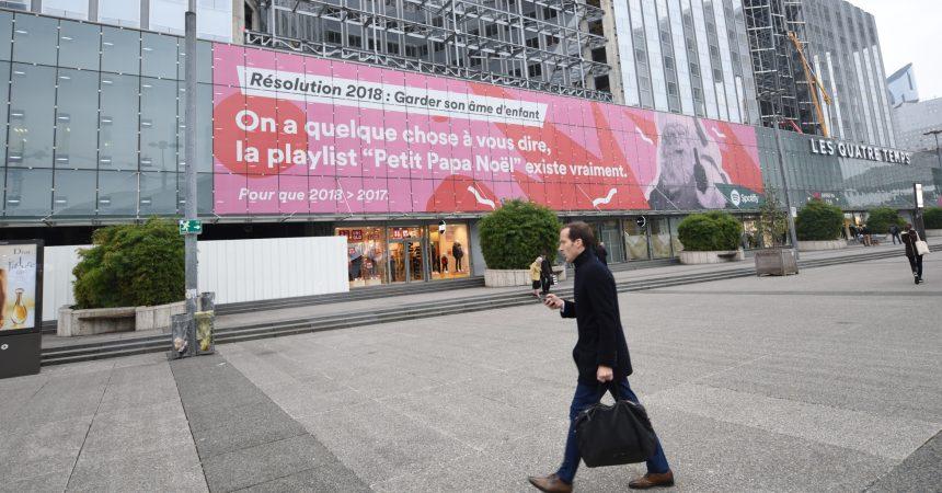 Spotify s'affiche sur le centre commercial des 4 Temps