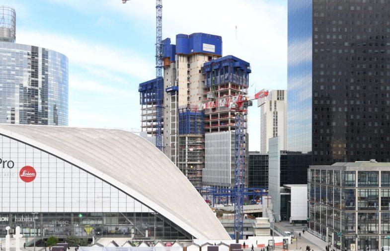 Le chantier de la tour Trinity à mi-hauteur